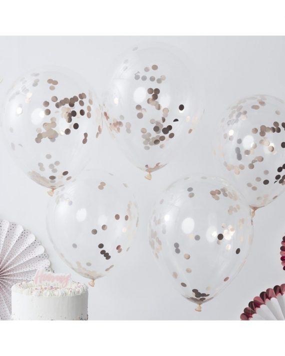 Ruusukultaiset konfetti-ilmapallot