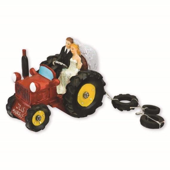 Punainen traktori kakkukoriste