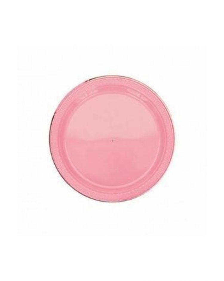 Vaaleanpunaiset kertakäyttölautaset