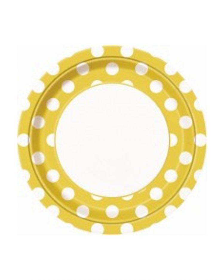 Keltaiset polka dot lautaset