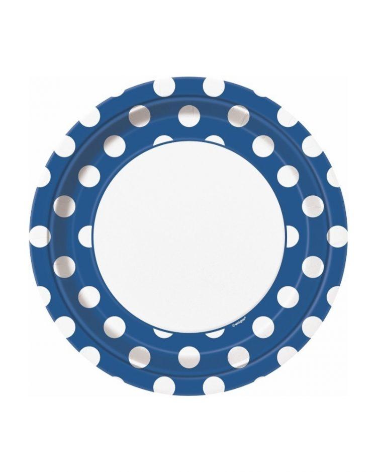 Siniset polka dot lautaset