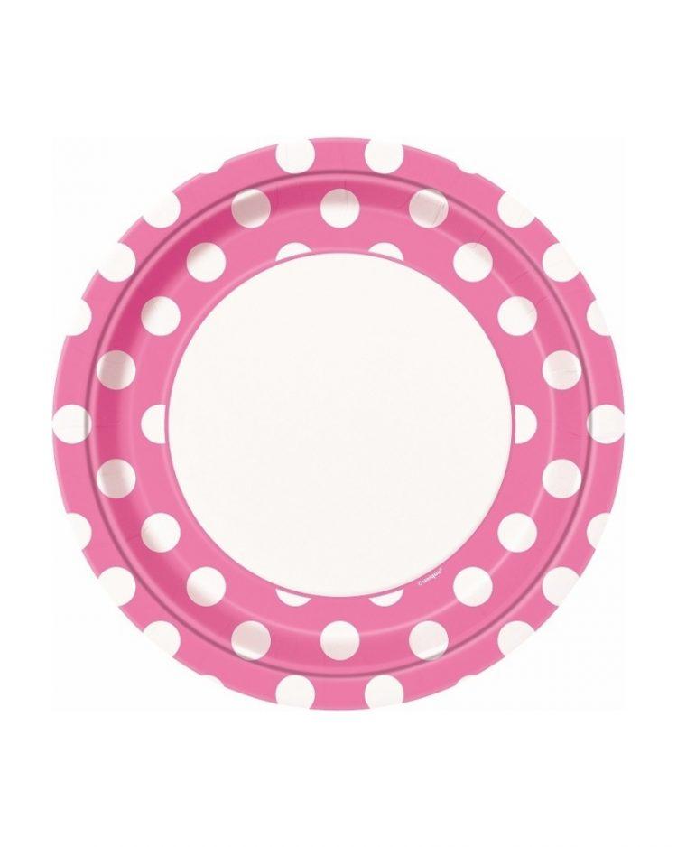 Vaaleanpunaiset polka dot lautaset