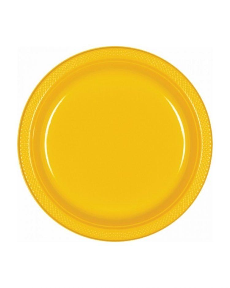Keltaiset kertakäyttölautaset