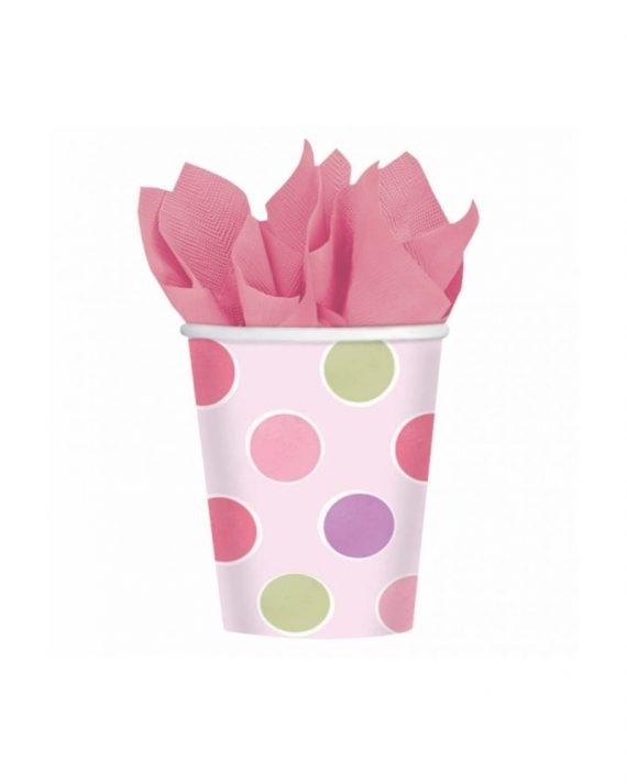 Vaaleanpunaiset pahvimukit