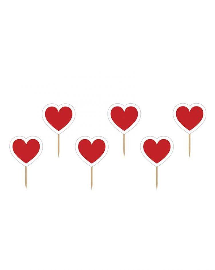 Sydämen muotoiset koristetikut muffinsseille