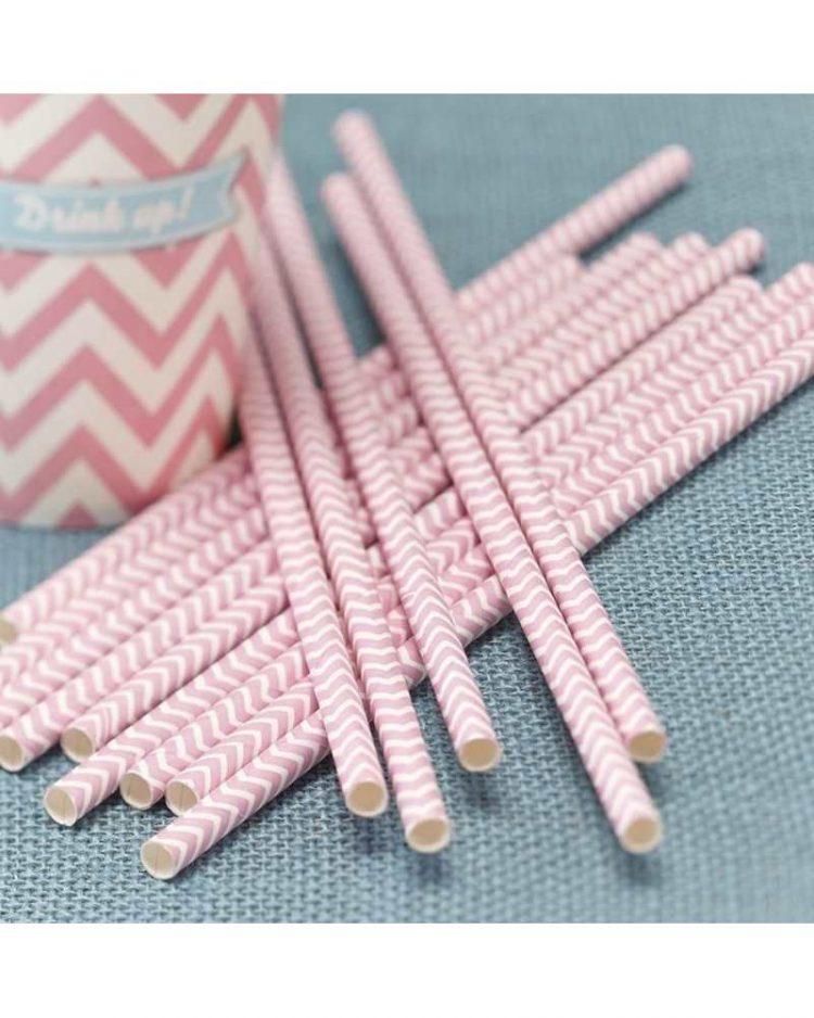 Vaaleanpunaiset chevron paperipillit