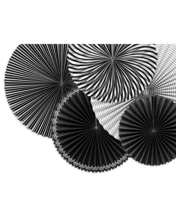 Mustavalkoiset paperiviuhkat