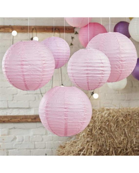 Vaaleanpunaiset paperilyhdyt 5 kpl