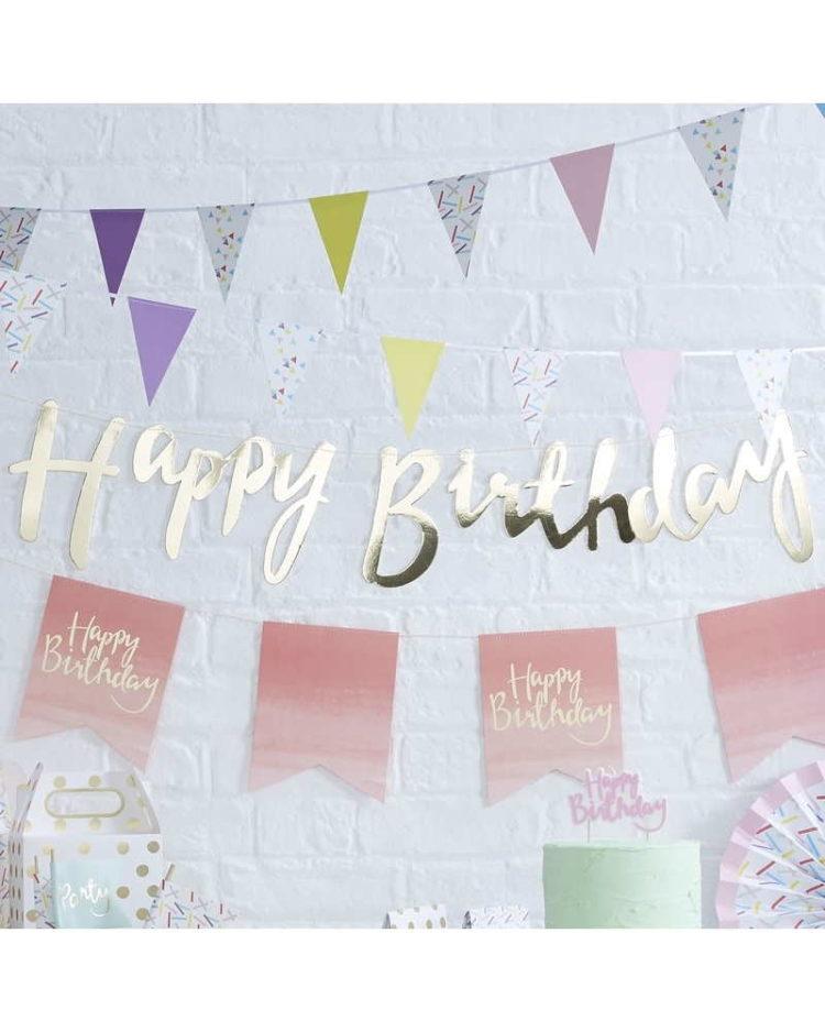 Kullanvärinen happy birthday banneri
