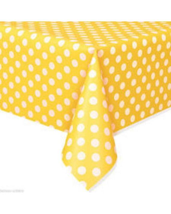 pöytäliina-polkadots-keltainen