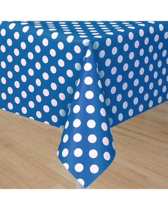 pöytäliina-polkadots-sininen