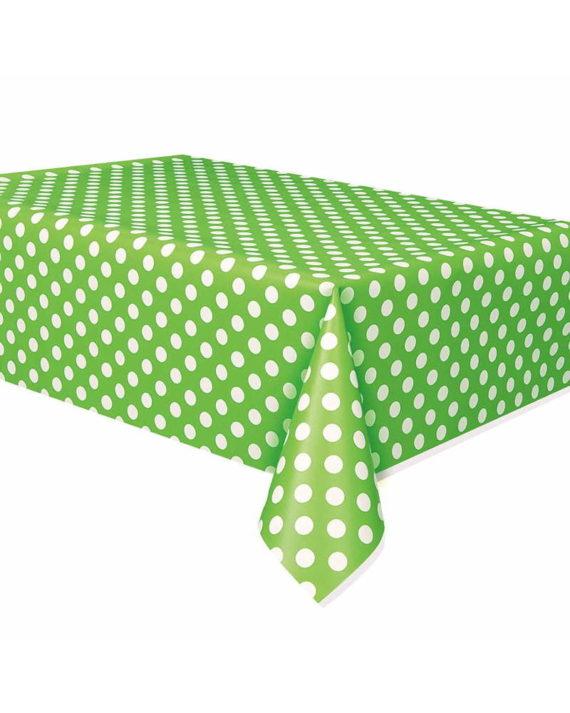 pöytäliina-polkadots-vihreä