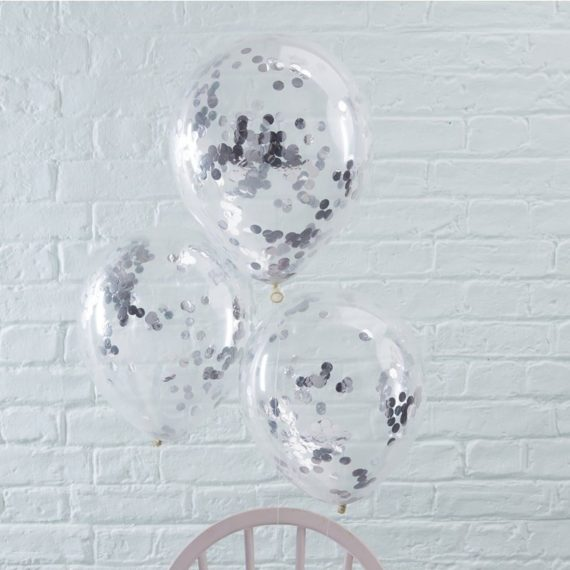 Hopeanväriset konfetti-ilmapallot