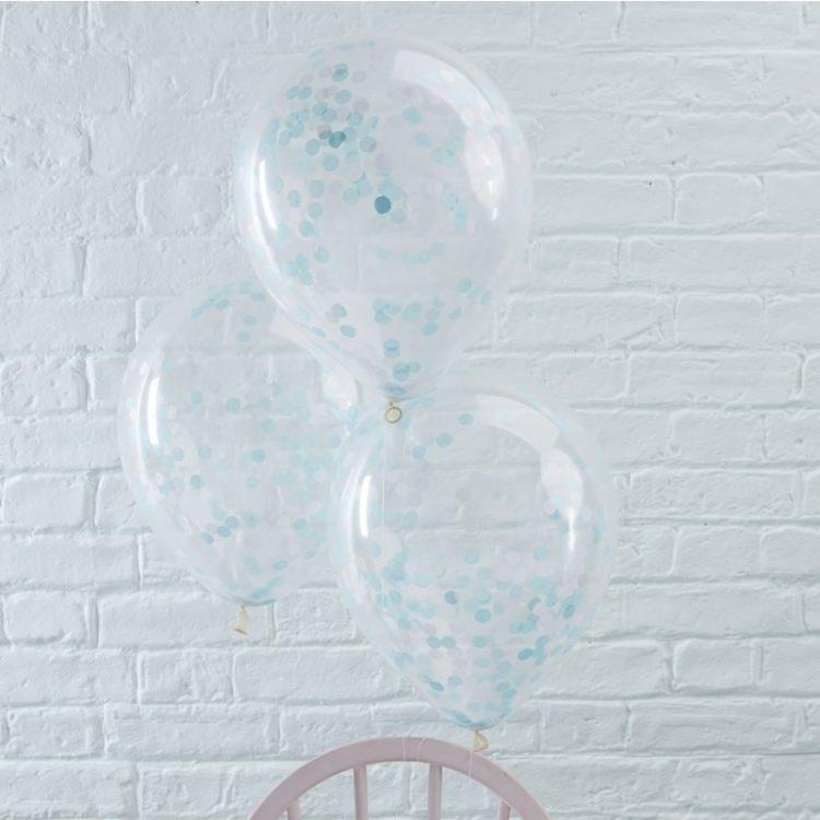 Vaaleansiniset confetti-ilmapallot